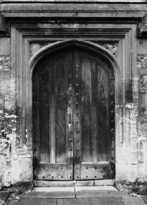 Black and white picture of rustic door
