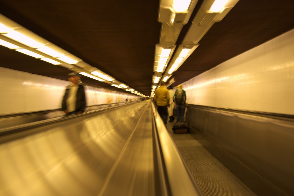 Moving walkway in Paris Metro