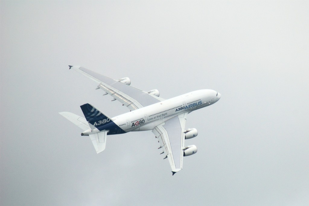 Airbus A380 fly-by at Farnborough International Airshow 2012