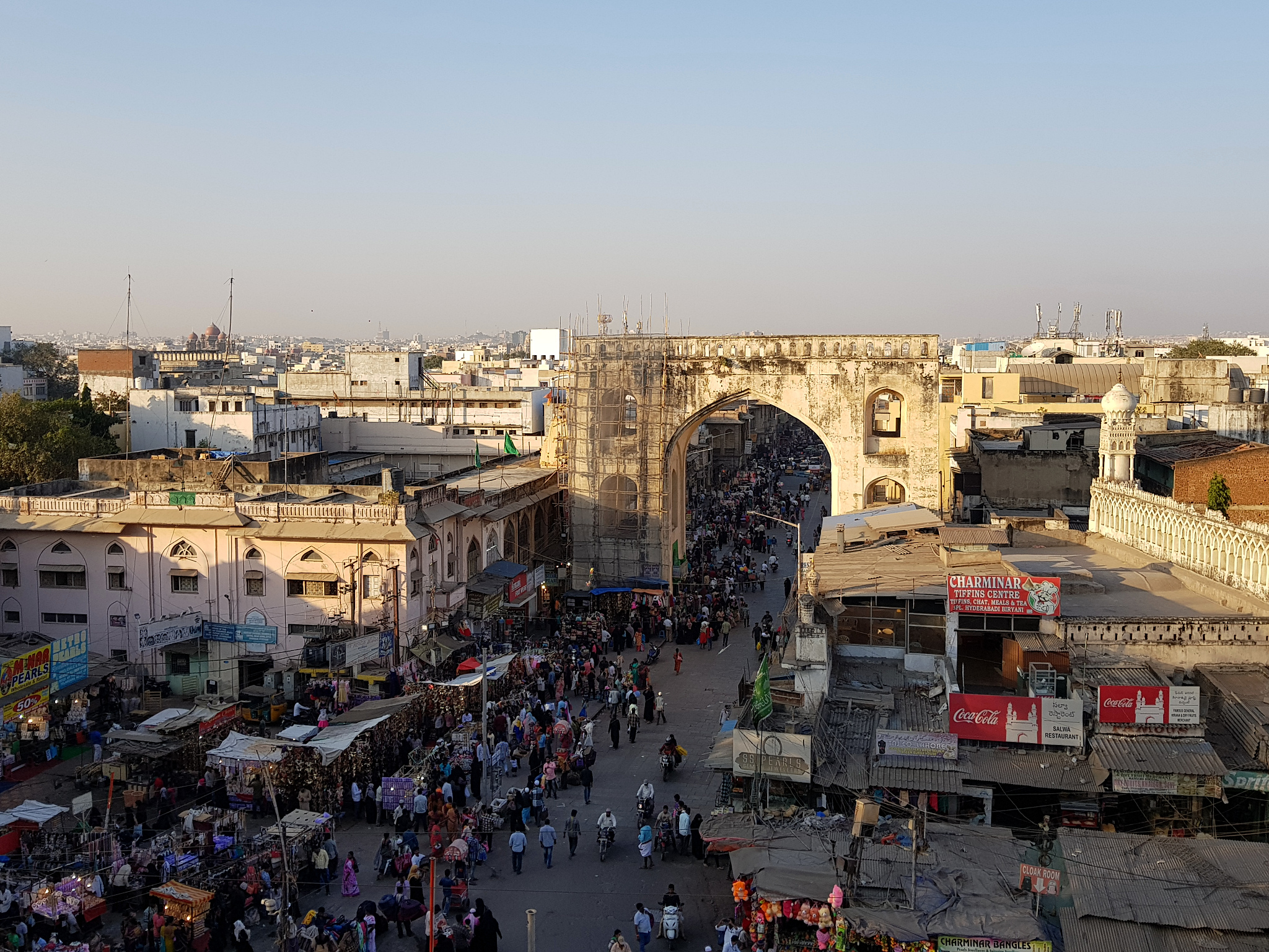 View from the top of Charminar, in Hyderabad