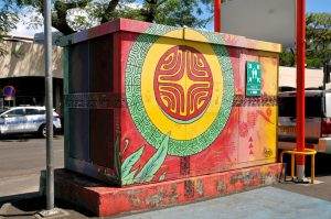 Colourful street art on power cabinet