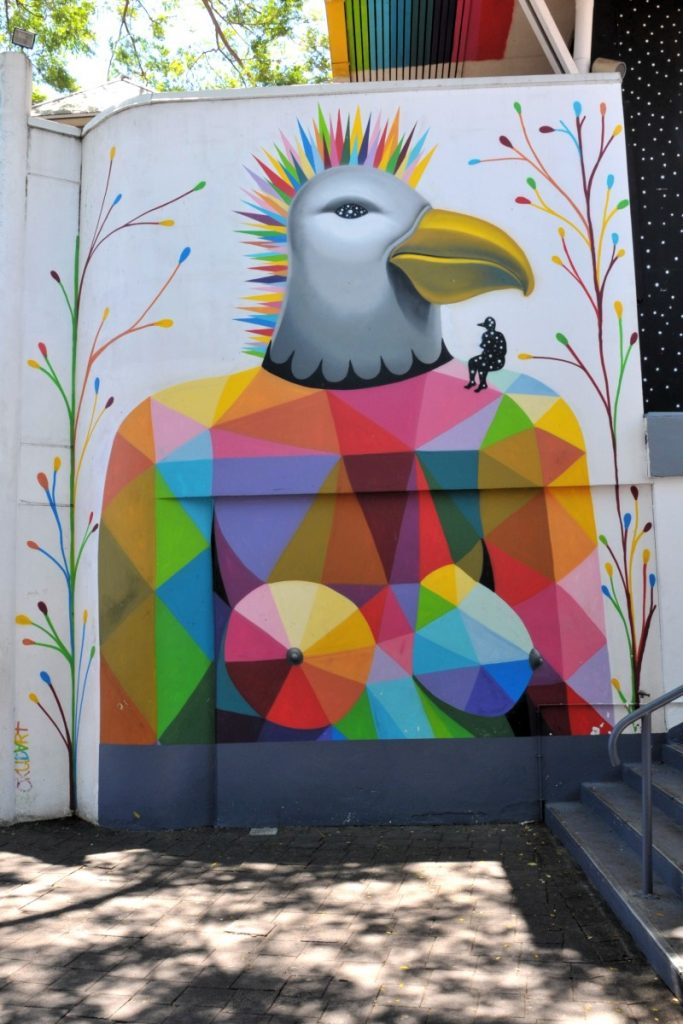 Mural showing geometric bird-like figure