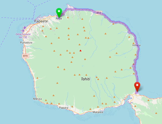 Map showing route from Arue to Taravao