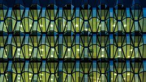 Glass façade building