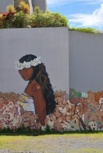 Mural showing Tahitian girl with flower crown